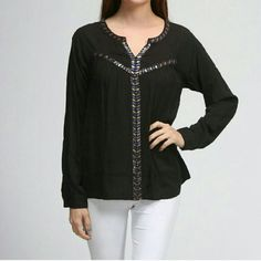New with tags Jewel trim blouse! This beautiful blouse features intricate beading down the front and along the neckline. It's delicate, elegant, and very versatile! Please don't purchase this listing, comment size below and I'll make you a separate listing! Moon Collection Tops Blouses
