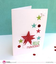Tarjeta de Navidad hecha con papeles de Anita y su mundo scrapbook Christmas Door Decorations, Christmas Ornament Crafts, Diy Christmas Cards, Christmas Star, Christmas Gift Wrapping, Xmas Cards, Diy Cards, Holiday Crafts, Tarjetas Diy