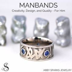Even your groom should have a custom wedding band! Here's some manband inspiration for your guy. Custom manbands by Abby Sparks Jewelry, custom jewelry designer in Denver, Colorado.