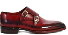 Two Tone Monk Burnished Toe Double Buckle Straps Maroon Black Cont Leather Shoes - Dress/Formal