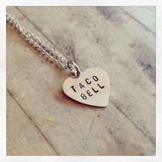 I Love Tacos Heart Stamped Necklace - Conversation Heart ($14) ❤ liked on Polyvore featuring jewelry, necklaces, accessories, brass necklace, heart necklace, heart shaped necklace, brass chain necklace and hand stamped necklace
