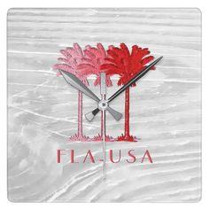 Florida FLA USA Square Wall Clock