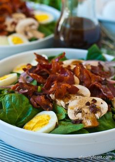 Bacon with warm salad dressing.