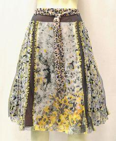 NWT BYRON LARS /Multi Color Feminine Floral Print Full Skirt Sz 6  #ByronLarsBeautyMark #FullSkirt