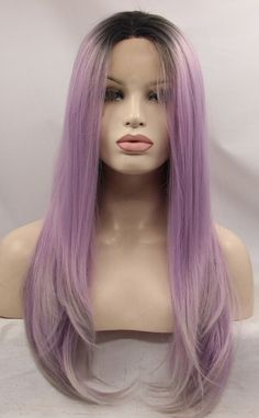 Blonde Roots Gradient Pink Long Wavy Synthetic Lace Front Wig 2019 New