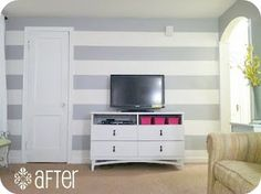 Striped walls: tutorial here. I want three different green shades for my bedroom (Sea foam/pastel types)