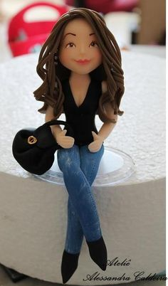 Modern Girl Fondant Figure in Jeans.