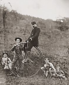 The photographer's children and his friend on a bicycle (c1885). Photographer: August Kotzsch, Germany