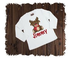 Christmas Reindeer Personalized Custom Printed T-Shirt - Available in Long or Short Sleeves Boutique Shirts, Reindeer, Size Chart, Short Sleeves, Printed, Cotton, Christmas, T Shirt, Products