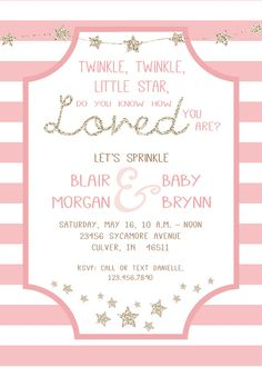 Twinkle Twinkle Little Star, Do you Know How Loved you Are? Baby Shower -- Baby Sprinkle -- Baby Girl -- Printable Invitation Package