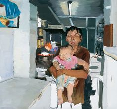"""The scale and lighting of the prominent figures draws attention to the surrounding space even if surrounding objects are out of focus.[Commentary by Mick Seppala]. Liu Xiaodong """"Shu Jun With His Chubby Son"""" oil on canvas, Figure Painting, Figure Drawing, Painting Inspiration, Art Inspo, Art Chinois, Ap Art, Art Sketchbook, Community Art, Contemporary Paintings"""