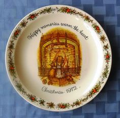 """Happy memories warm the heart""  Holly Hobbie Christmas 1972 collector plate Have This One!"