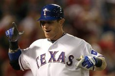 Josh Hamilton celebrates after hittiing a solo home run in the bottom of the fifth inning against the San Francisco Giants in Game Three of the 2010 World Series at Rangers Ballpark in Arlington.