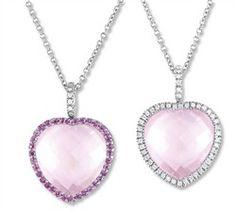 Pink Sapphire Heart Necklace - Reversable 14k White Gold Diamond, Pink Sapphire and Rose Quartz Heart Necklace 1-5 ct