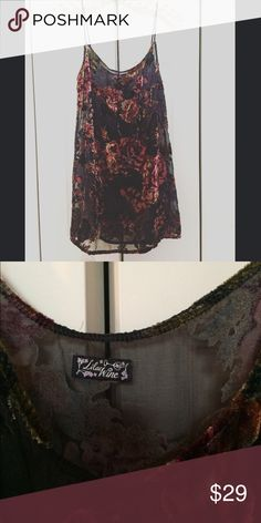 Free People Slip Dress by Lilac Wine XS You are looking at an absolutely stunning sheer slip dress with a jacquard velvet floral detail. This dress was purchased at Free People the tag says Lilac Lace.  This dress is unworn in new condition. Thanks so much for looking! Free People Dresses Mini