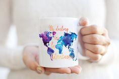Oh Darling Let's Be Adventurers Coffee Mug - Watercolor World Map Wanderlust Gypsy Travel Boho Cup - Purple / Blue travel gift | Adventure