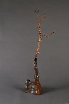 Saggar fired ceramic sculpture from Cinder and Smoke Studio (www.facebook.com/cinderandsmokestudio).
