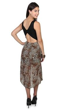 Deb Shops high low dress with lace bodice, bow back and cheetah print skirt $32.90