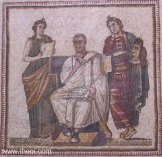 That's Virgil in the middle--and Melpomene, Muse of Tragedy on the right, looking really, really bored.