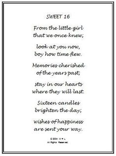 Happy Sweet Sixteen Birthday Poem