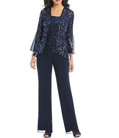 Mother of the Bride Dresses 2019 with Long Jacket Three Pieces Pant Suit Mother Fuchsia Chiffon vestido de madrinha Ankle-Length Mother Of Bride Outfits, Mother Of Groom Dresses, Classy Wedding Guest Dresses, Wedding Dress, Winter Wedding Attire, Wedding Pantsuit, Cheap Boutique Clothing, Clothing Accessories, Dressy Pants