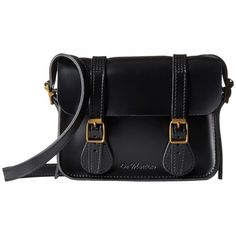 Dr. Martens 7 Leather Satchel (Black) Satchel Handbags (€83) ❤ liked on Polyvore featuring bags, handbags, satchel handbags, embossed leather purse, leather satchel, buckle purses and leather satchel purse
