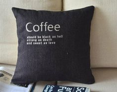 "18"" Cotton linen coffee style decorative pillow Cover/linen pillow case/ throw pillow cover/scatter cushion"