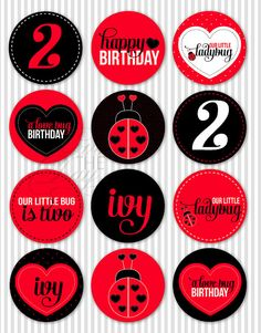 Ladybug Birthday Party PRINTABLE DIY Party Circles by lovetheday, $12.00