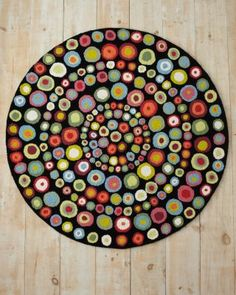 On the Spot Hooked Wool Rug - Garnet Hill Not crochet, but great inspiration for an afghan or shawl Hand Hooked Rugs, Penny Rugs, Crochet Home, Crochet Rugs, Round Rugs, Rug Hooking, Carpet Runner, Woven Rug, Floor Rugs