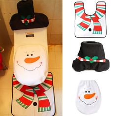 Christmas House Printed Nonslip 3Pcs Bathroom Mats Set
