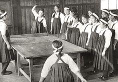 apanese students from Inuyama chouritsu koutou jogakkou 犬山町立高等女学校 (Inuyama Municipal higher girls school) playing table tennis - Aichi prefecture 愛知県, Japan - 1936 Nippon-Graph