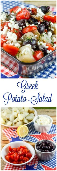 Greek Potato Salad is an easy, light, healthier version of potato salad that is loaded with flavor from Greek vinaigrette dressing, feta cheese, black olives, and tomatoes. It is perfect for an outdoor picnic or potluck because it has no mayonnaise. ~ FlavorMosaic.com
