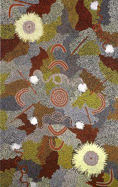 Clifford Possum TJAPALTJARRI_Bush Flower Dreaming Site #painting #aboriginal #aborigene #contemporain Aboriginal Painting, Aboriginal Artists, Aboriginal People, Dot Painting, Indigenous Australian Art, Indigenous Art, Clifford Possum Tjapaltjarri, First Nations, Teaching Art