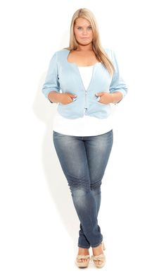 Plus Size Blue Eyes Jacket - City Chic - City Chic so what I would like my style to be