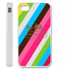 COACH est 1941rainbow stripes case cover for iPhone 4 / 4s / 5,samsung s2. s3