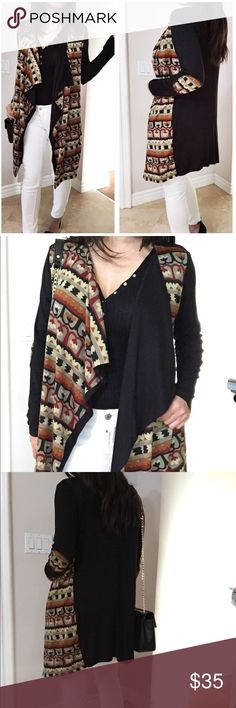 """Drappy open front print Cardigan Brand New Never Worn, Print Cardigan with Elbow patch.  Soft and comfy Light/medium weight perfect to layer on any outfits.  True to size Loose fit.  Rayon/Spandex blend.  No Trades, Bundle for 10% Discount.  Model is wearing size Small 5'3"""" Sweaters Cardigans"""