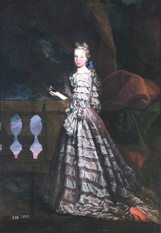 1705-1709 Young Maria Luisa holding a miniature portrait of her husband Felipe V of Spain by Maria Leuel