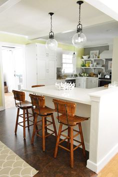 I just ADORE this kitchen! Color and fixtures, especially >> Young House Love