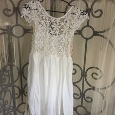 "NEW summer crochet & lace dress... Size is large Super cute summer sleeveless lace dress...size is large..10/12...dress length is 30""... Heramay Fashion Collection Dresses Midi"