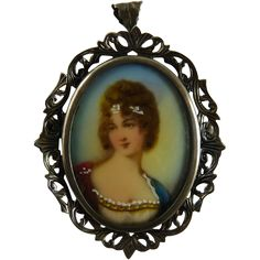 Vintage Hand Painted Portrait Brooch in 800 Silver