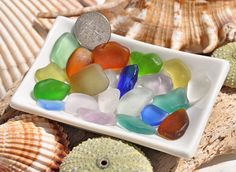 21 Pieces Rainbow Sea Glass Mix Including by BeachBountySeaGlass