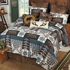 Barrington Cotton Quilt Rustic Quilt Bedding Decorate Your Lodge Bedroom With The Barrington Quilt This Patchwork Quilt Features A Radiating Pattern With Scalloped Edging And Detailed Triple Border Bed Quilts, Quilt Bedding, Bedroom Themes, Bedroom Decor, Bedrooms, Ikea Bedroom, Lodge Bedroom, Hunting Bedroom, Rustic Quilts