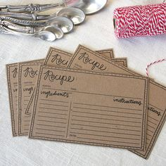 These pretty recipe cards ($8 for 12) are perfect for sharing your favorite secret or not-so-secret recipe that everyone always asks you about (and perhaps even one of its ingredients to go along with them).                  Image Source: Etsy user olivejuicepress