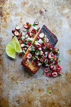 // Crispy Salmon with Winter Salsa