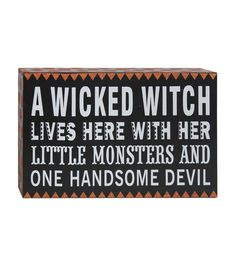 Accessorize your table or mantel for a fun Halloween party with decorative accents like the Makers Halloween Word Block Table Decor-Wicked Witch. This rectangular table decor word block features symbo