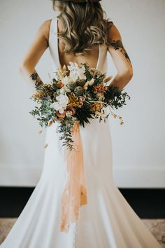 Love this Allure Romance gown as. Love this Allure Romance gown as a clean backdrop for all the gorgeous we. Boho Wedding Dress, Wedding Vows, Floral Wedding, Wedding Day, Elegant Wedding, Wedding Desert, Cactus Wedding, Disney Wedding Dresses, Hijab Bride