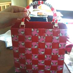 Hello Kitty Duct tape purse. Made it for my brothers fiancé. She is OBSESSED with Hello Kitty.