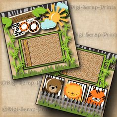 WELCOME TO THE ZOO ~ 2 premade scrapbook pages paper piecing layout BY DIGISCRAP #DigiScrapPrints