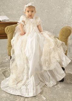 Sophi Silk  Lace Christening Gown