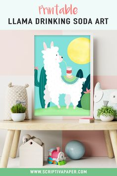 Printable Wall Art featuring a cute Llama drinking from a soda can! This cute and funny wall art is perfect for a girl Toddler Room Decor, Playroom Decor, Wall Art Decor, Cute Llama, Llama Llama, Funny Wall Art, Target Home Decor, Kids Room Design, Girls Bedroom